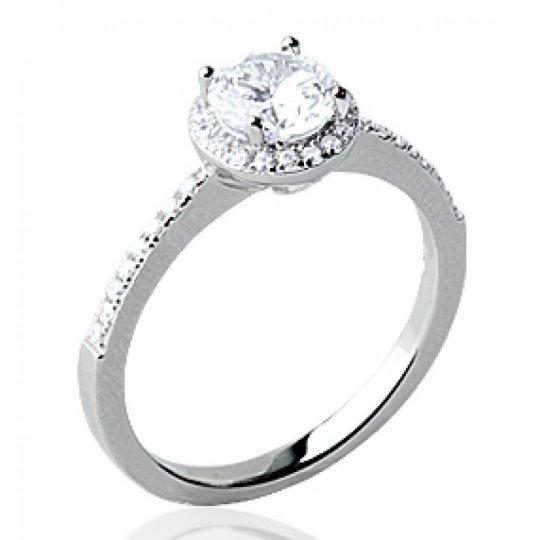 Ring Solitaire Zirconium Argent Rhodié & strass