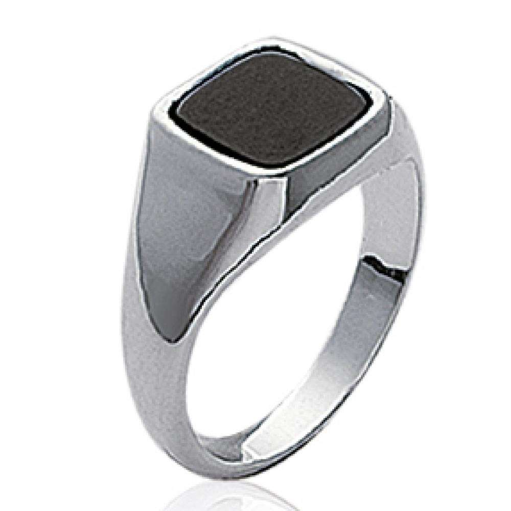 Signet ring pierre d'imitation carrée Black Argent pour for Men