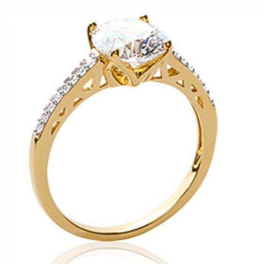 Ring Solitaire Zirconium Gold plated 18k - Ring de...