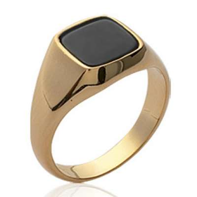 Signet ring pierre d'imitation carrée Black Gold plated...