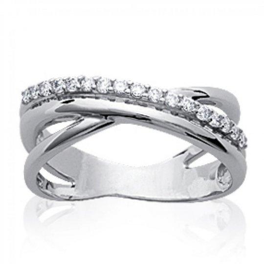 Ring fine entrelacée Argent Rhodié - Zirconium - Women