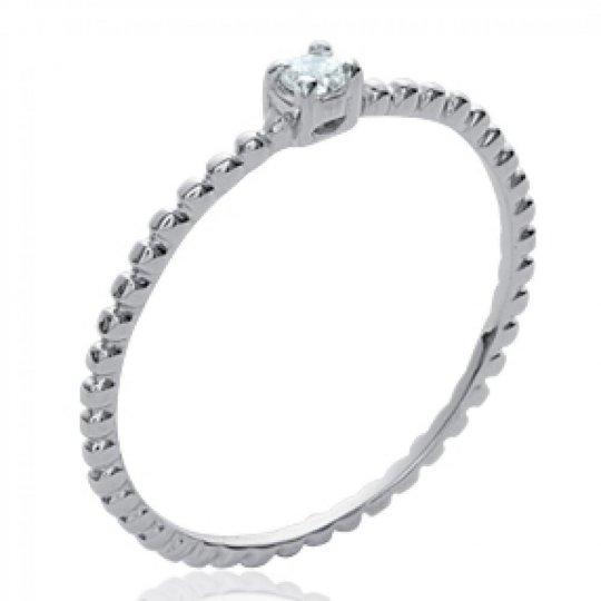 Ring fine & petit Solitaire Argent Rhodié - Zirconium -...