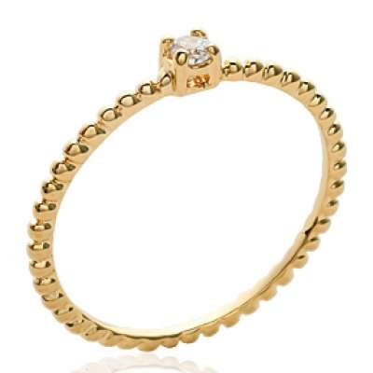 Ring de promesse fine petit Solitaire Gold plated 18k -...