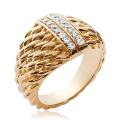 Ring dôme cordelettes Gold plated 18k - Zirconium - Women