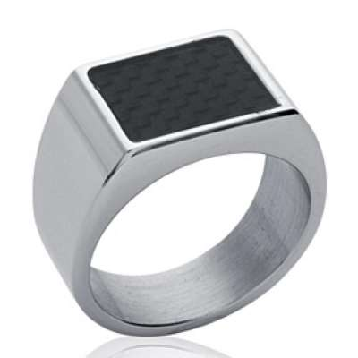 Signet ring selle rectangle Carbon Black 11x8mm Acier...