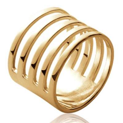 Ring tube ajourée avec fentes Gold plated 18k - Women