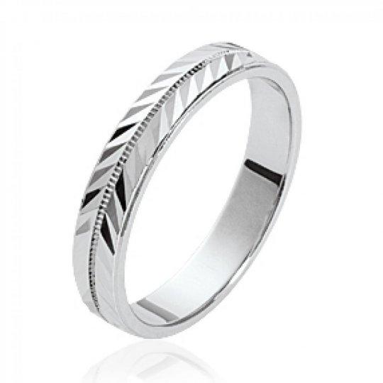 Ring de mariage Bay leaf moderne Argent Rhodié - for Men