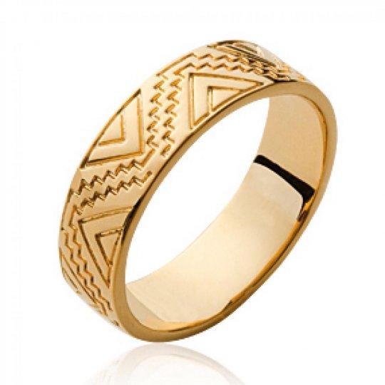 Ring aztèque Indian gravée Gold plated 18k - Women