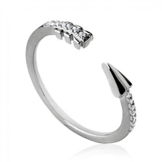 Ring Arrow aztèque ouverte Argent Rhodié - Zirconium