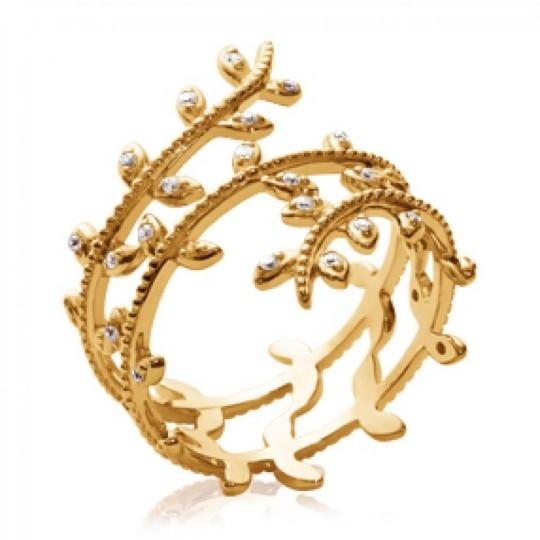 Anello liane ressort Placcato in oro 18k - Zirconium - Donna