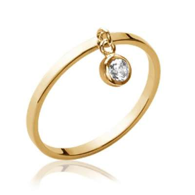 Ring breloque pampille fine Gold plated 18k - Zirconium -...