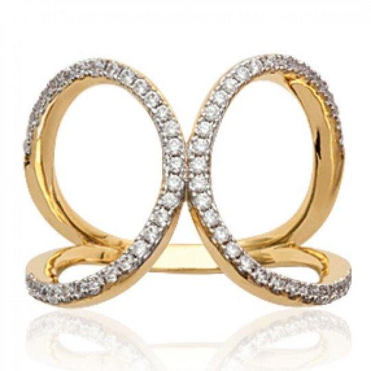 Ring grandes boucles pavée Gold plated 18k - Zirconium...