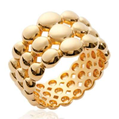 Ring tube bulles multi rangs Gold plated 18k - Women