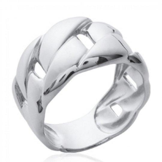 Grosse Ring gourmette Argent Rhodié - Women