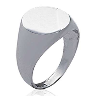 Ring Signet ring arrondie Argent Rhodié Engravable - for Men