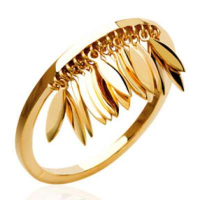 Ring breloque Feathers Indiannes aztèque bohème Gold...