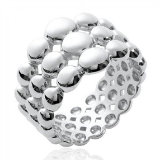 Bague multi anneaux bulles Argent Rhodié - Femme