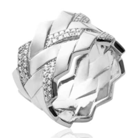 Ringe tube tressée Argent Rhodié - Zirconium - Damen