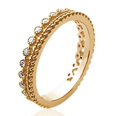 Ring couronne fine Gold plated 18k - Ring de promesse...