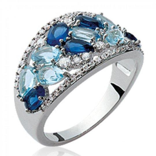 Ring pierres bleues multi-tons Argent Rhodié - Women