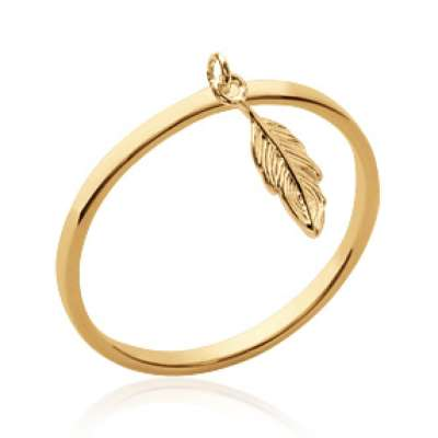 Ring breloque Feather fine Gold plated 18k - Women