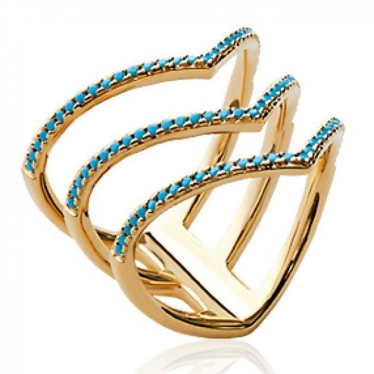 Bague multi anneaux en V pierre d'imitation Bleue turquoise Plaqué Or - Femme