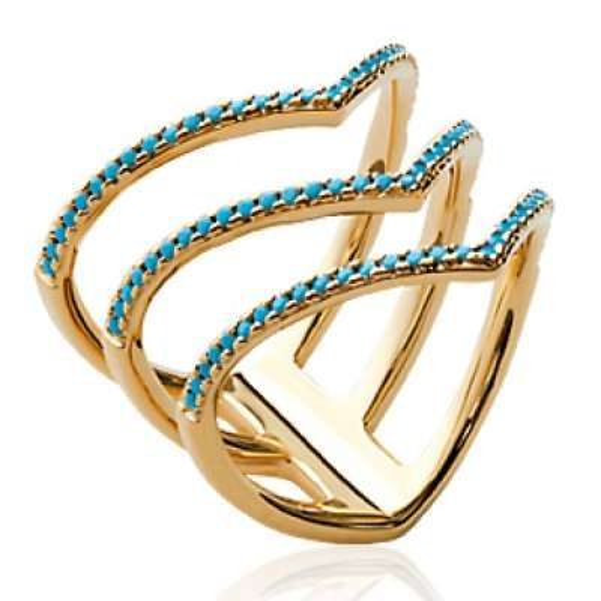 Ring multi anneaux en V strass Bleu turquoise Gold plated...