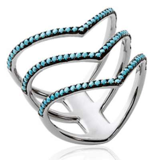 Bague multi anneaux noirs & pierre d'imitation bleue turquoise Argent Rhodié