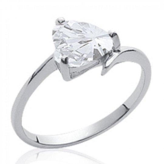 Ring pierre Heart  Solitaire Argent Rhodié - Zirconium -...