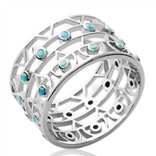 Ring tube Aztèque & pierres d'imitation turquoise Rhodié 11mm