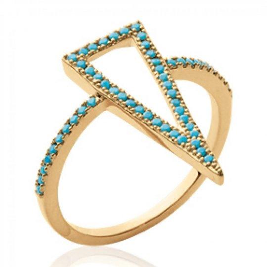 Bague fine grand triangle pierre d'imitation bleue turquoise Plaqué Or - Femme