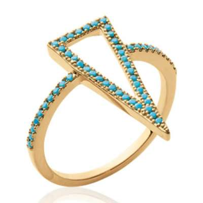 Ring fine grand Triangle bleu turquoise Gold plated 18k -...
