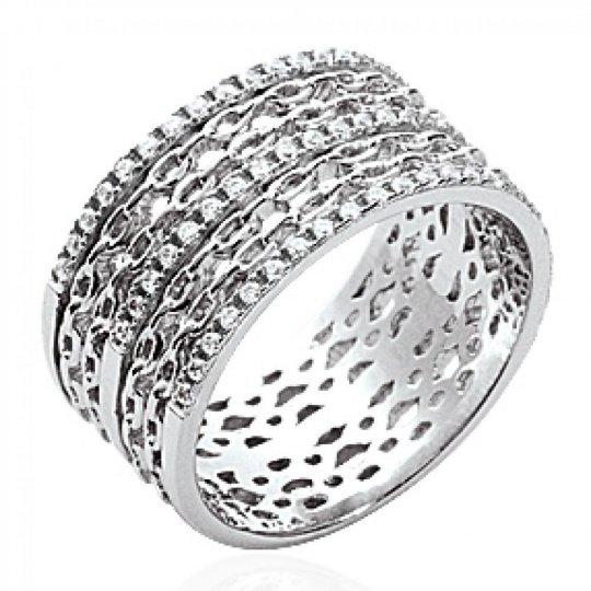 Ring tube Chain rigide Argent Rhodié - Strass zirconium - Women