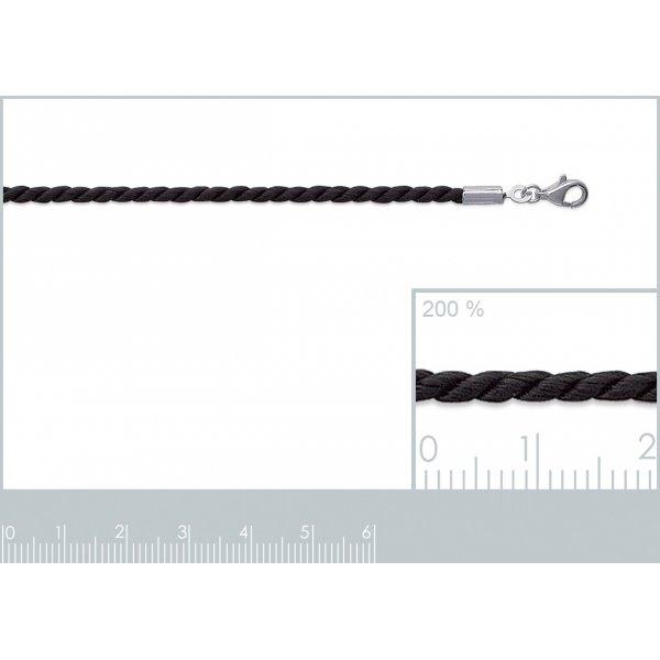 Sautoir cordon tressé Noir - fermoir Argent Massif - Femme - 60mm