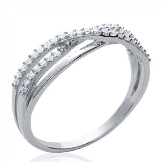 Ring fine entrelacée pavée Argent Rhodié - Zirconium - Women