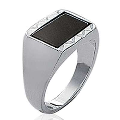Ring Signet ring pierre d'imitation Black Argent - for Men