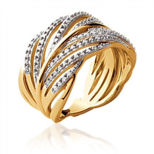 Grosse Ringe Feder pavée Vergoldet 18k - Zirconium...