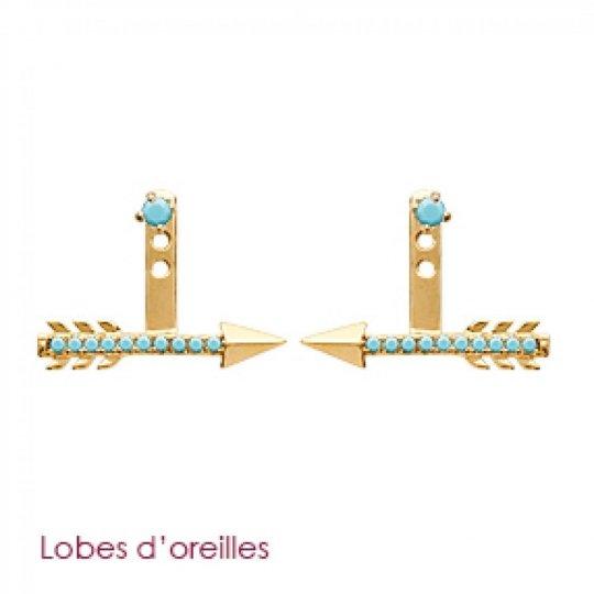 Boucles d'oreilles sous lobes flèche pierres d'imitation bleues turquoise Plaqué Or