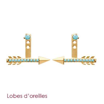 Earrings sous lobes Arrow pierres bleues turquoise Gold...