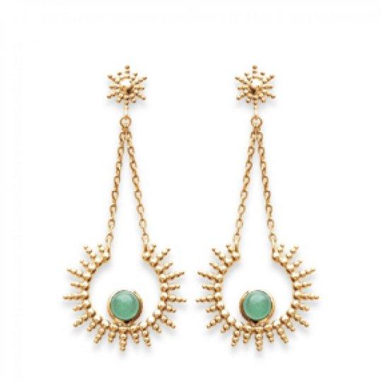 Earrings soleil pierre verte aventurine  Gold plated 18k