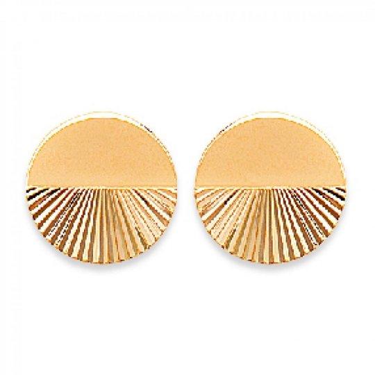 Boucles d'oreilles puces demi-lune avec reflets Plaqué Or - Femme