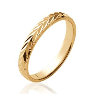 Ring de mariage Bay leaf martelée Gold plated 18k - Women