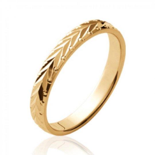 Ring de mariage Bay leaf martelée Gold plated 18k - Women