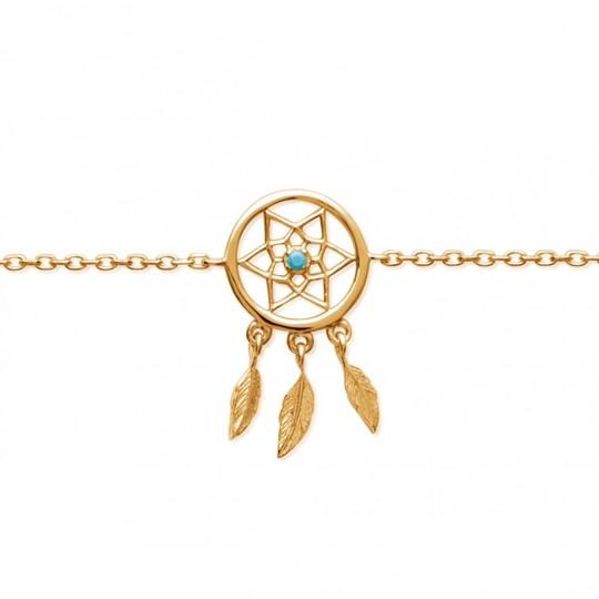 Bracelet attrape rêve pierre bleue turquoise Gold plated...
