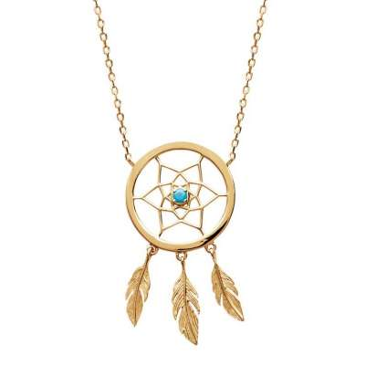 Necklace Dream Catcher attrape rêve turquoise Gold plated...