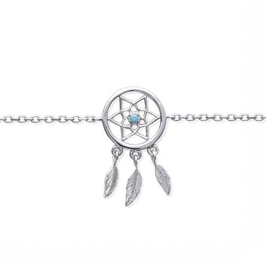 Bracelet Attrape rêve pierre d'imit.bleue Argent Rhodié - 16/18cm