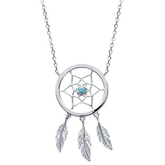 Necklace Dreamcatcher Attrape rêve bleu Argent Rhodié - 45cm