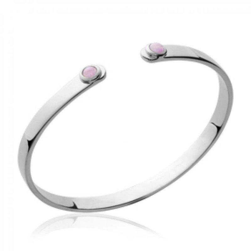 Bracciale Bangle pierres roses Argento Sterling 925 Rodiato - Donna - 58mm