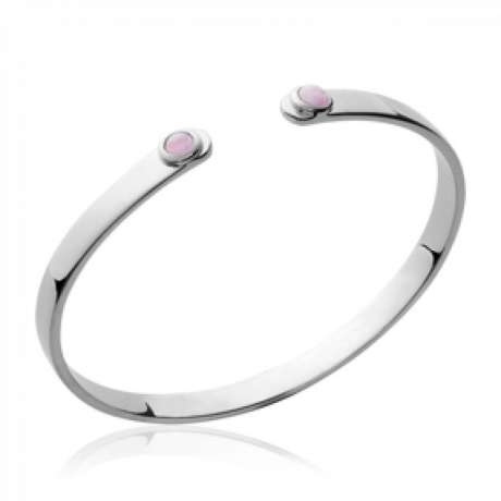 Bracciale Bangle pierres roses Argento Sterling 925 Rodiato - Donna - 58mm