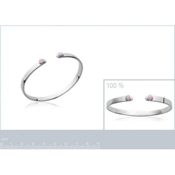 Jonc pierres roses Argent Massif Rhodié - Femme - 58mm